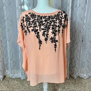 Bob Mackie Peach Blouse With Black Detail Medium